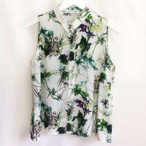 Botanical Print Silk Blouse